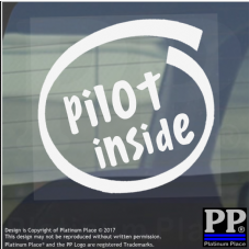 1 x Pilot Inside-Window,Car,Van,Sticker,Sign,Vehicle,Sky,Plane,Air,Craft,Travel
